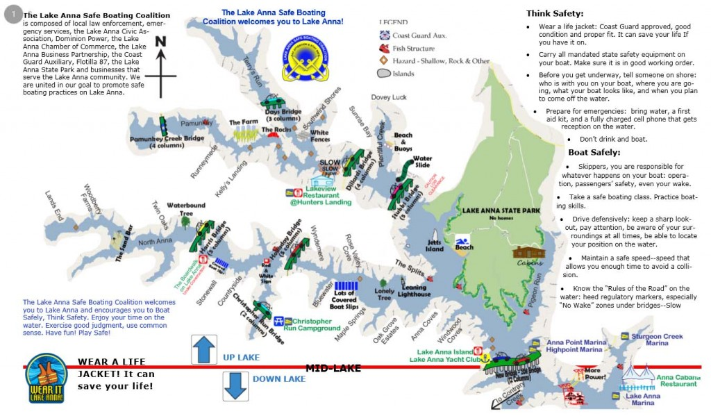 Lake anna map virginia lake anna rentals for Lake anna fishing